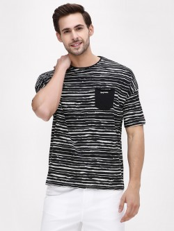 Being Human Striped Slub T-Shirt With Patch Pocket