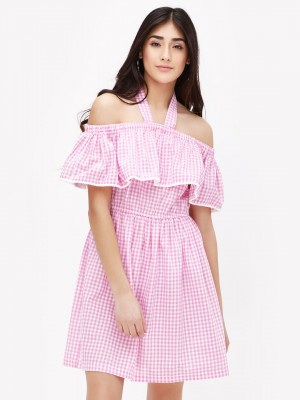 KOOVS Ghimgham Off Shoulder Dr...