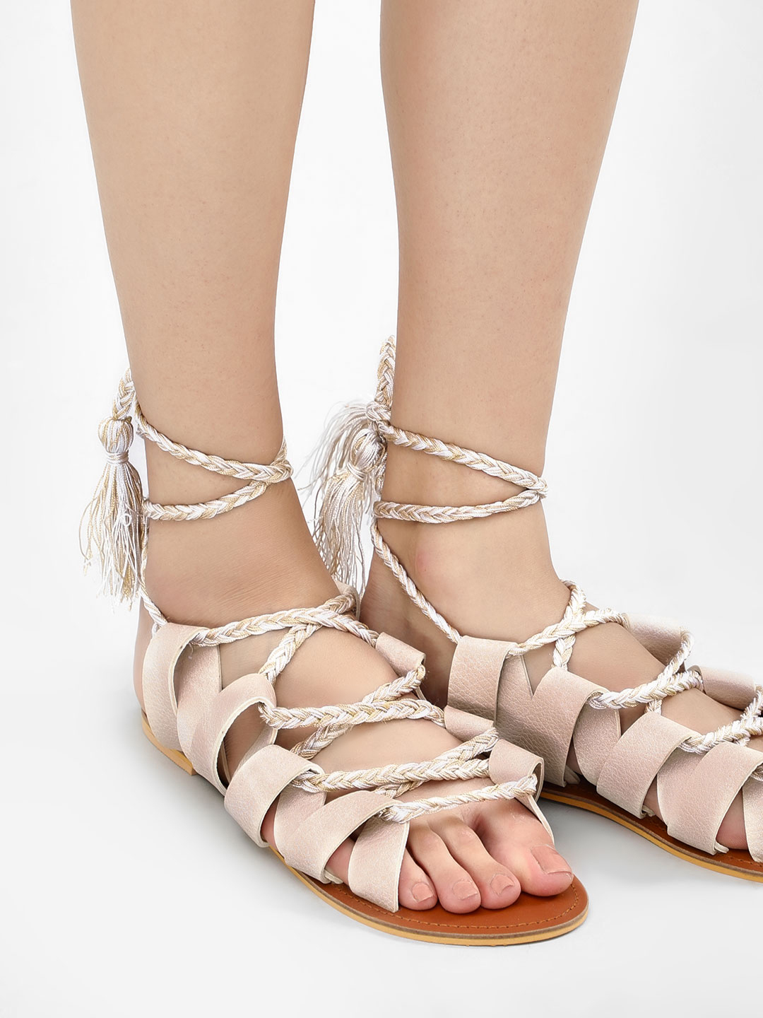 KOOVS Nude Ghillie Lace Up Sandals 1