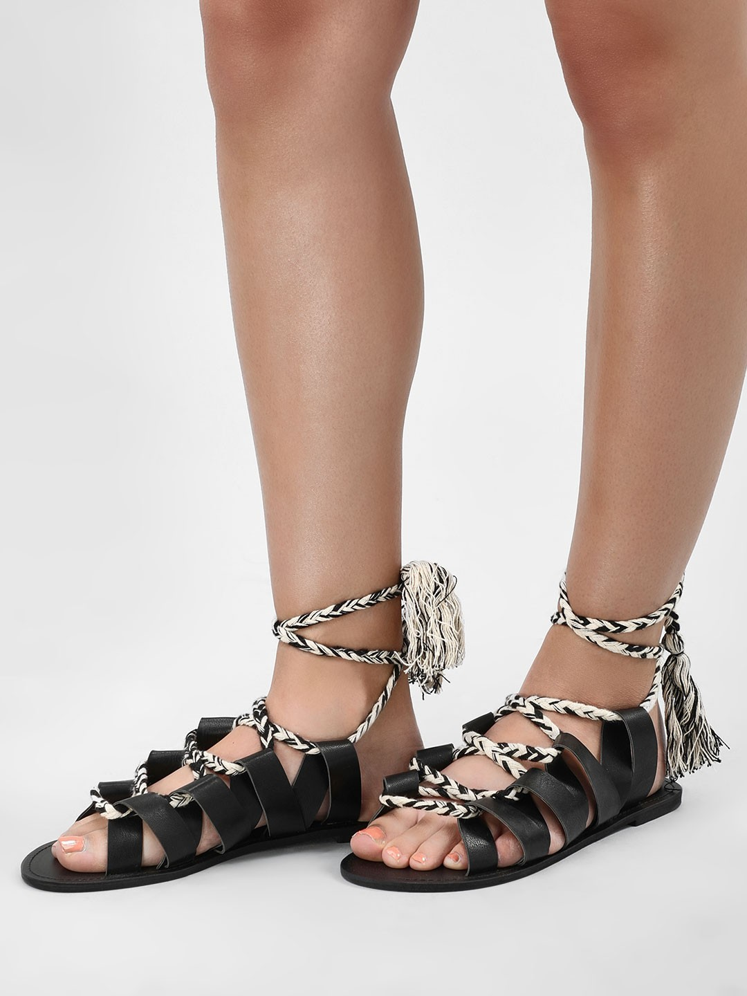 KOOVS Black Ghillie Lace Up Sandals 1