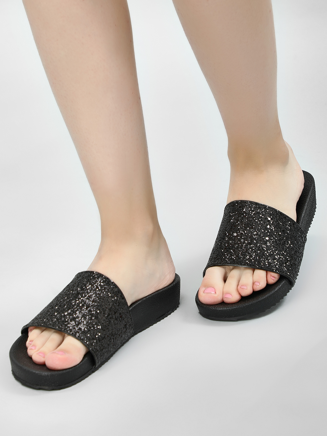 KOOVS Black Glitter Detail Pool Slides 1