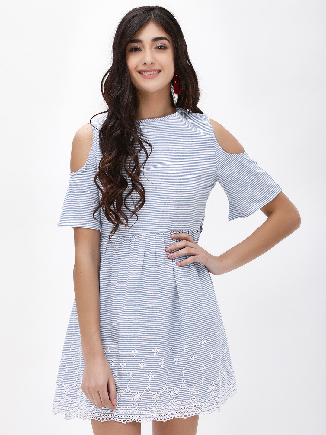 KOOVS Blue Cold Shoulder Mini Dress 1