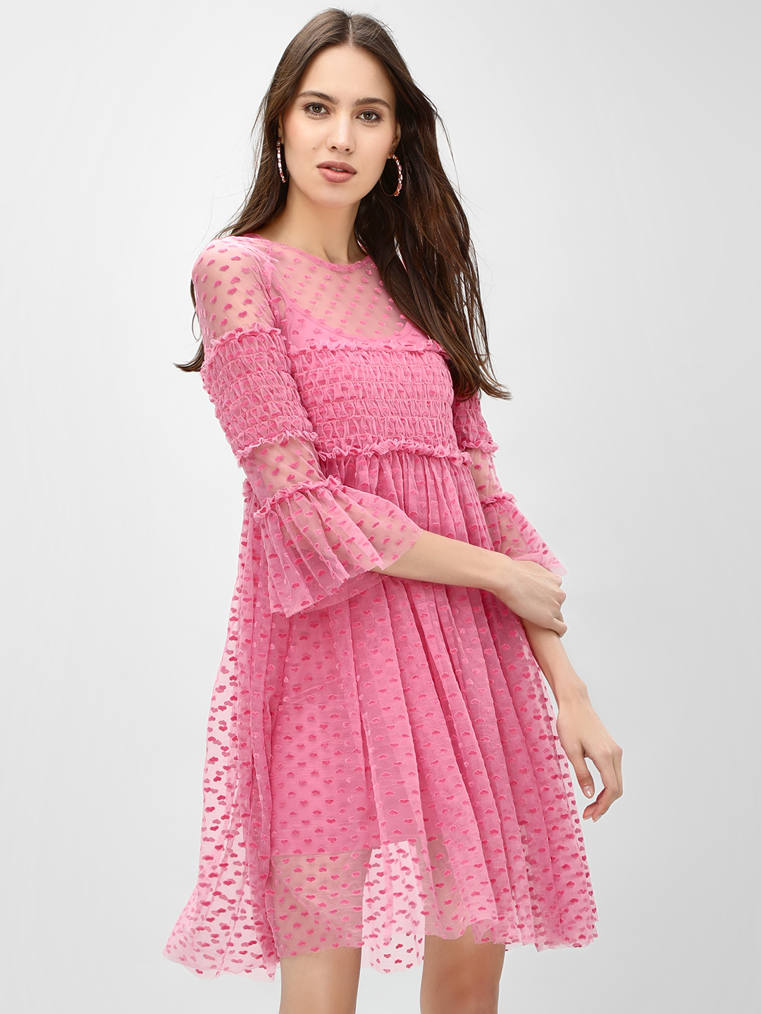 KOOVS Pink Heart Lace Skater Dress 1