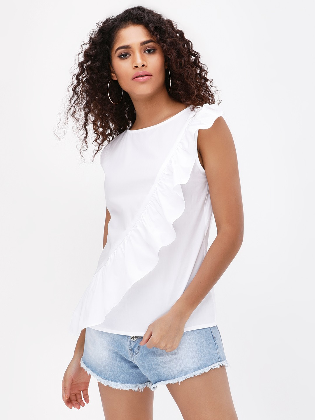 Origami Lily White Front Ruffle Detail Sleeveless Top 1