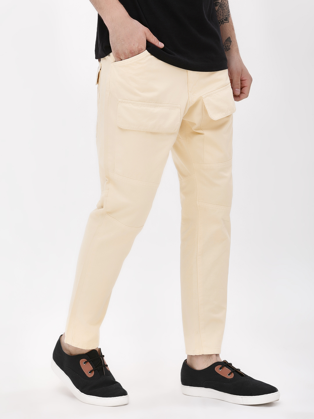 Blue Saint Off White Slim Cargo Trousers With Square Pocket 1