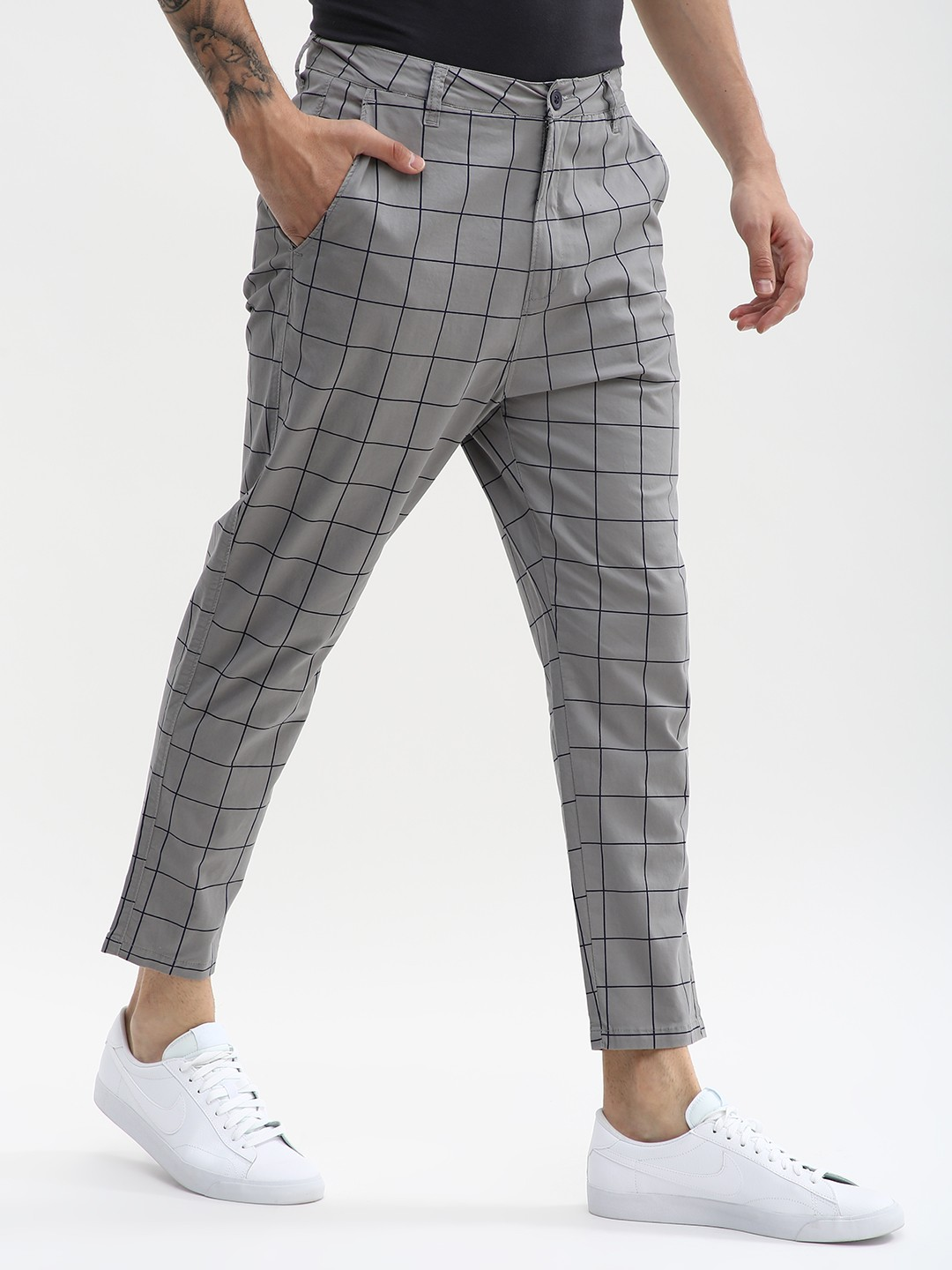 Spring Break Grey Windowpane Check Cropped Slim Trousers 1