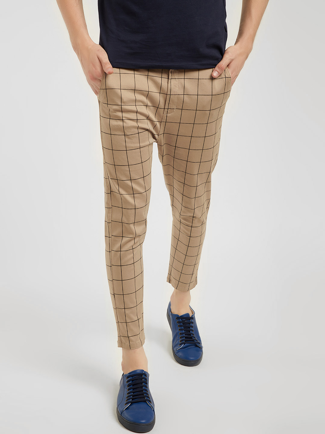 Spring Break Beige Windowpane Check Cropped Slim Trousers 1