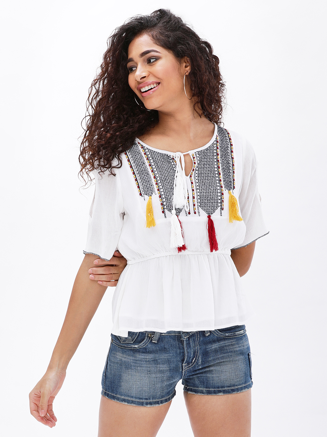 MIWAY White Embroidery & Tassel Detail Peplum Top 1