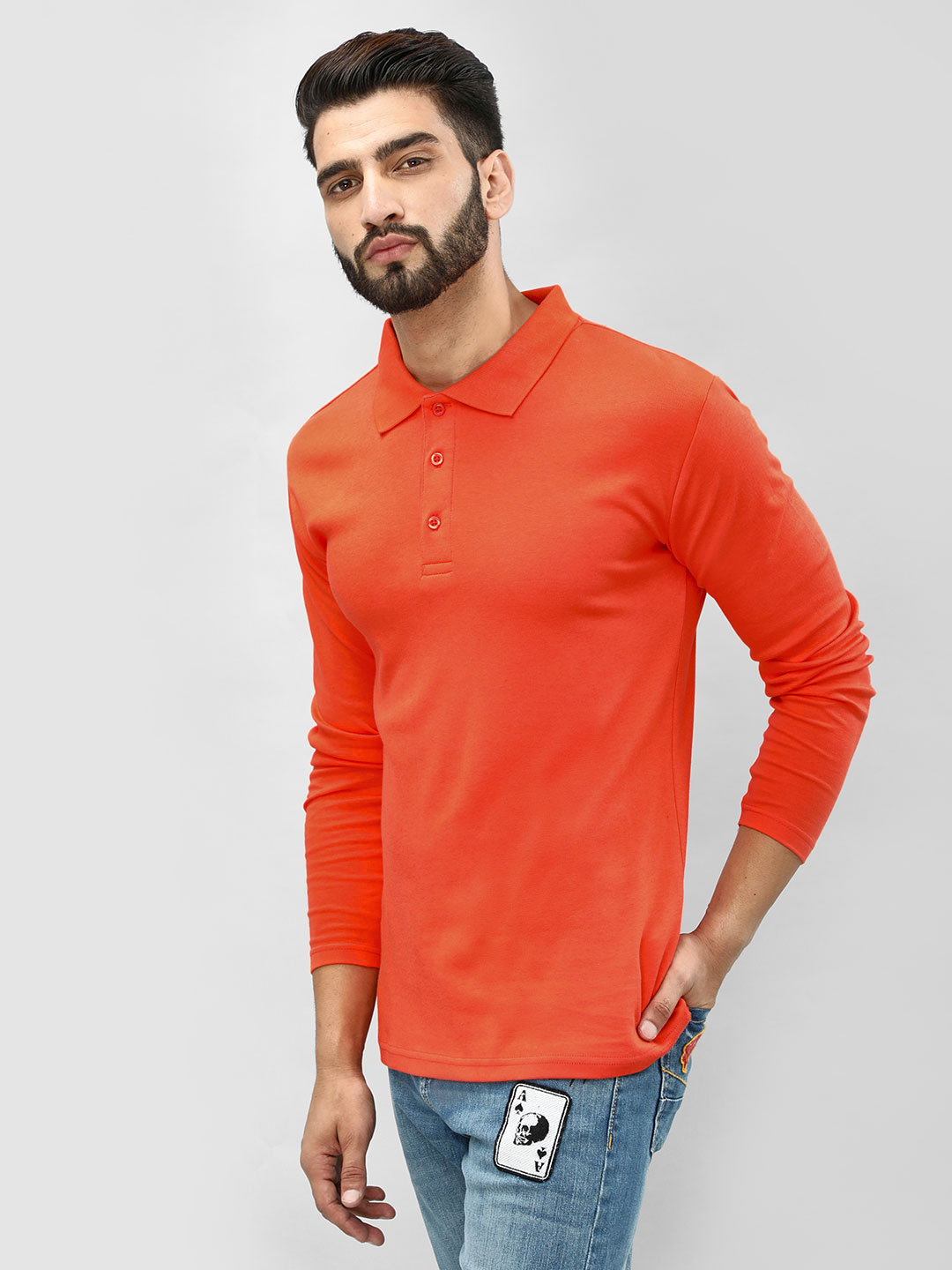 Blue Saint Orange Long Sleeve Polo Shirt 1
