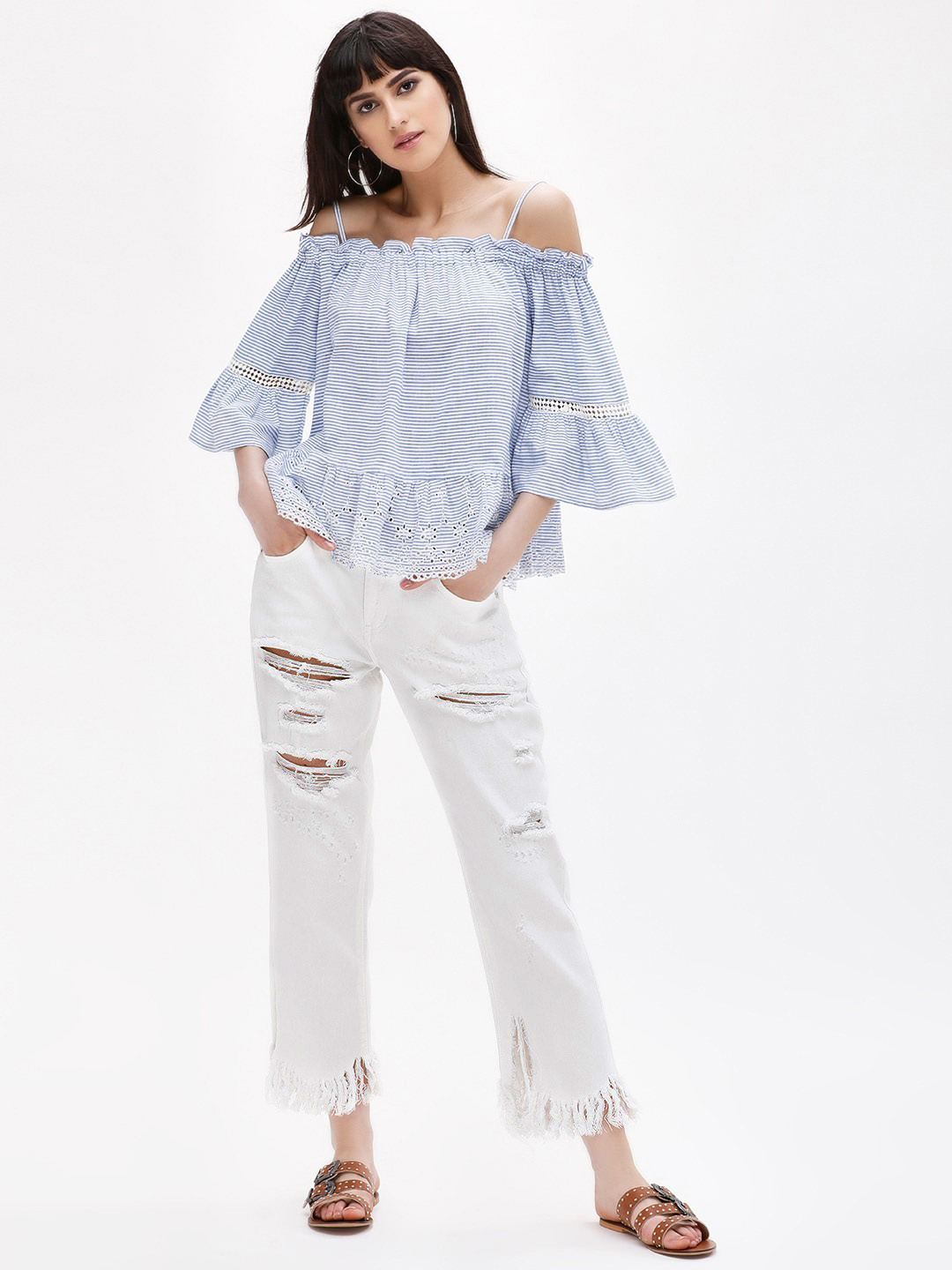 Glamorous White Distressed Straight Cropped Jeans 1