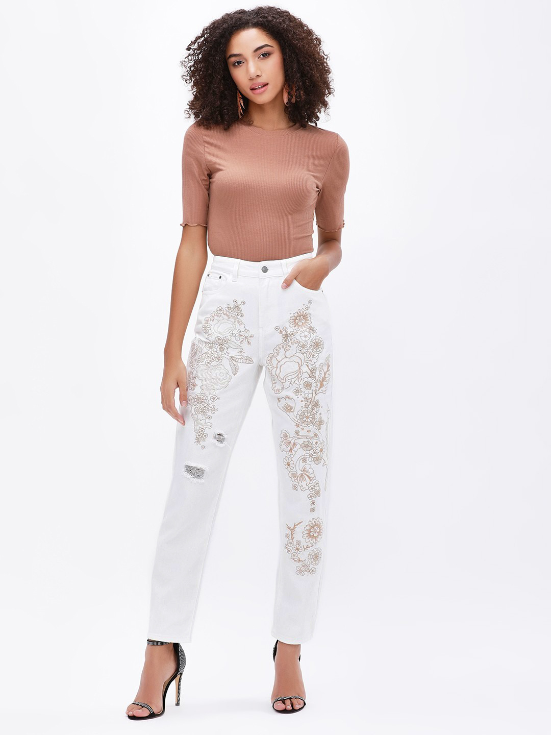 Glamorous ECRU Floral Embroidered Distressed Skinny Jeans 1