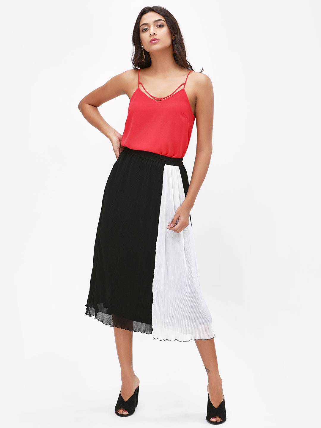 KOOVS Multi Colour Block Pleated Skirt 1