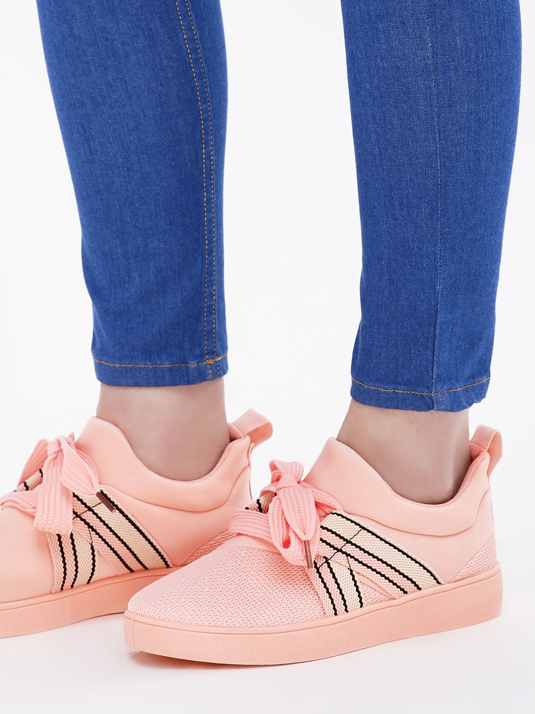 No Doubt Blush pink Tape Detail Trainers 1