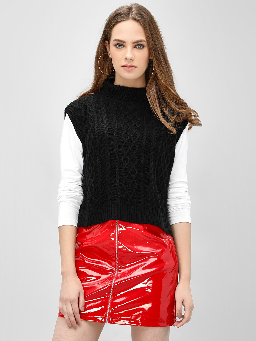 Akiva Black Sleeveless Cropped Cape Pullover 1
