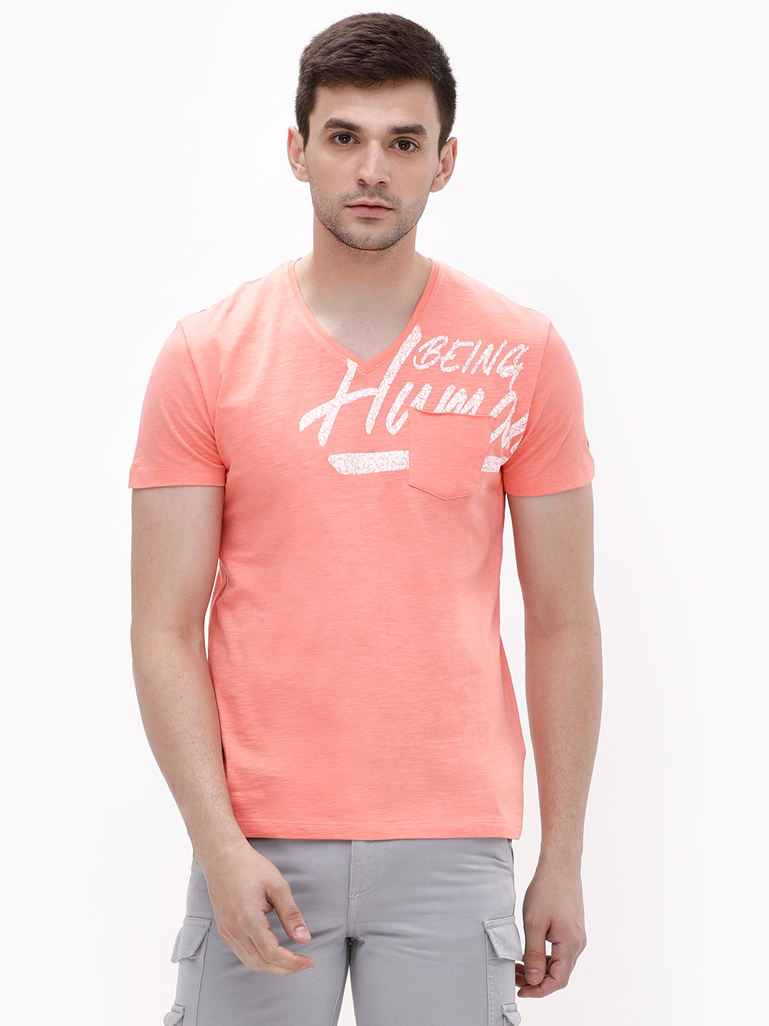 Being Human Peach Crack Print Logo Slub T-Shirt 1