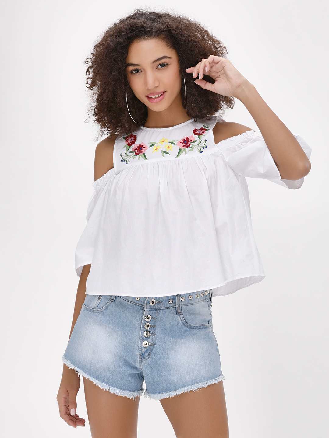 Kisscoast White Cold Shoulder Embroidered Top 1