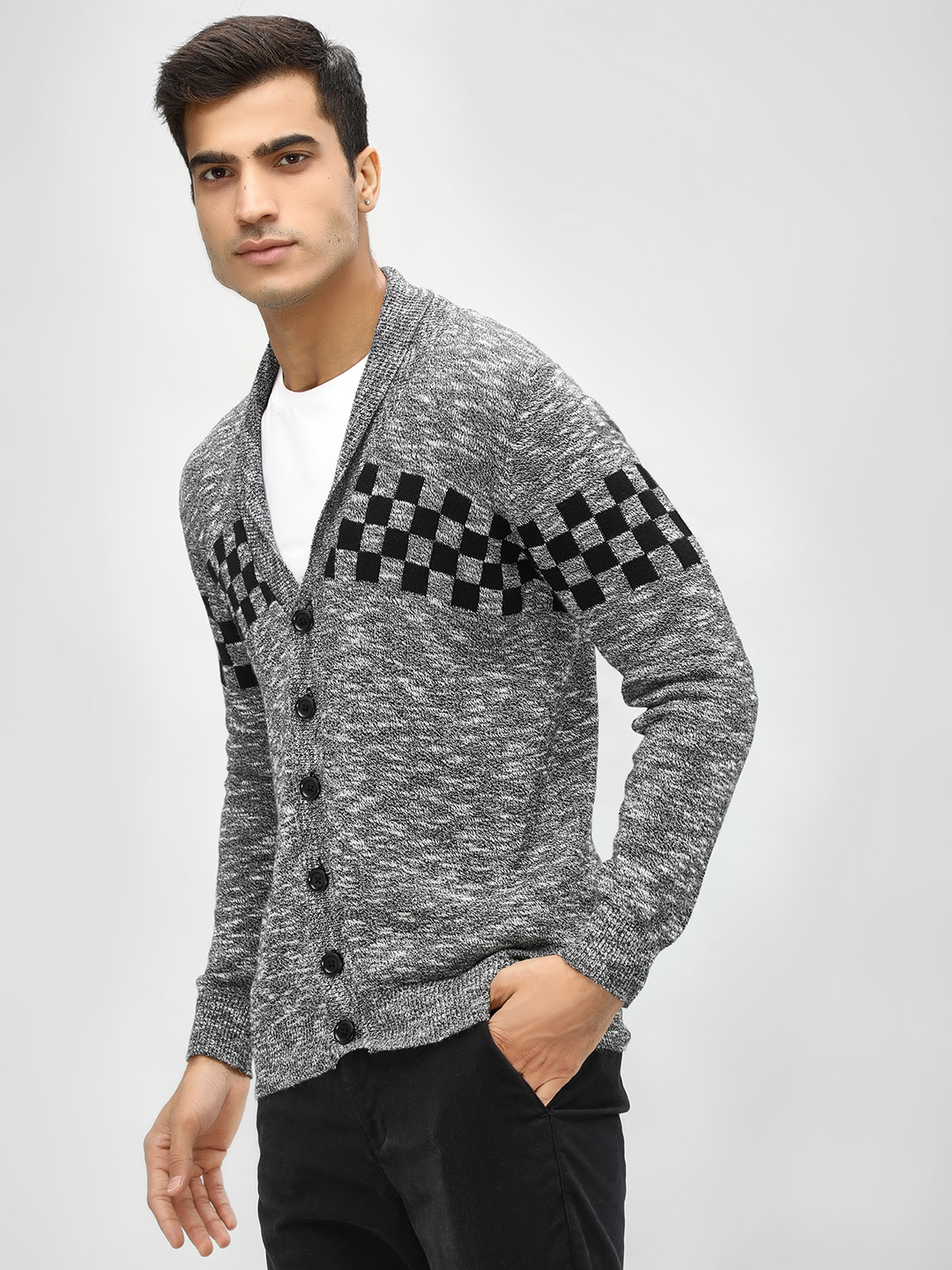 Akiva Grey Shawl Collar Grindle Cardigan 1
