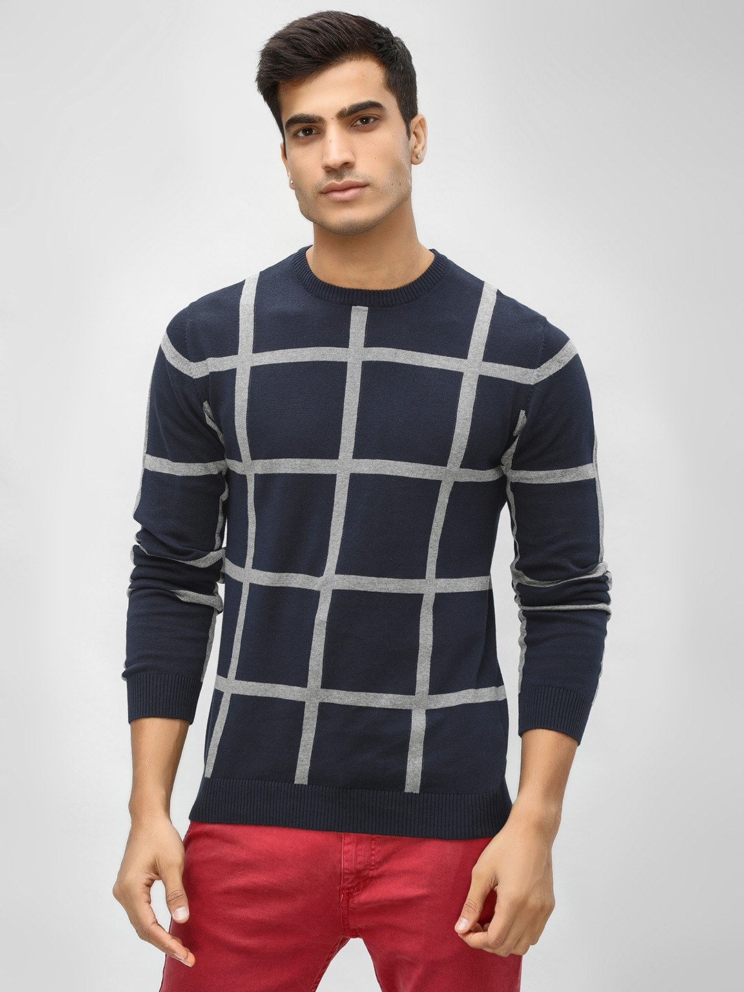 Akiva Blue Windowpane Check Crew Neck Pullover 1