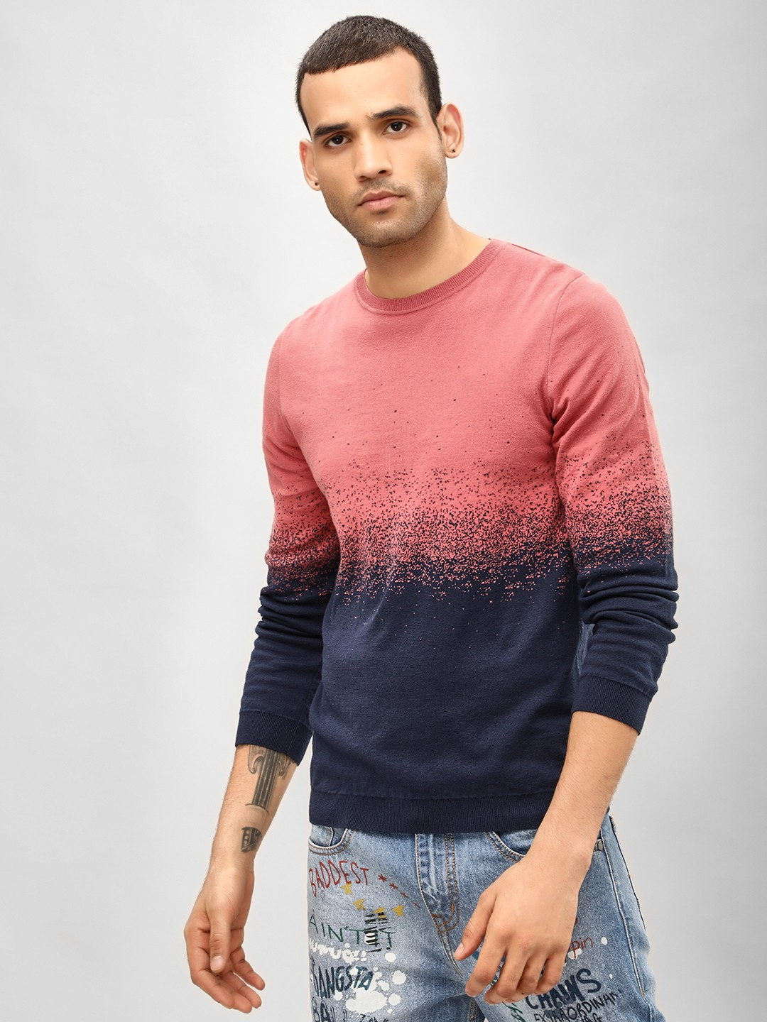 KOOVS Pink Colour Block Crew Neck Pullover 1
