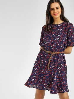 Femella Bird Floral Print Shift Dress