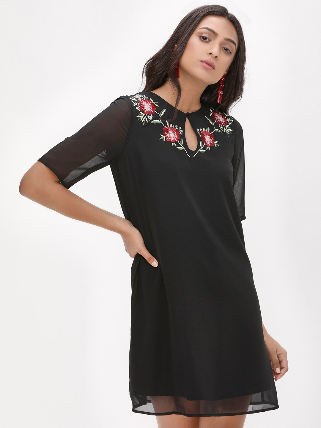 Femella Black Embroidered Neck Shift Dress 1