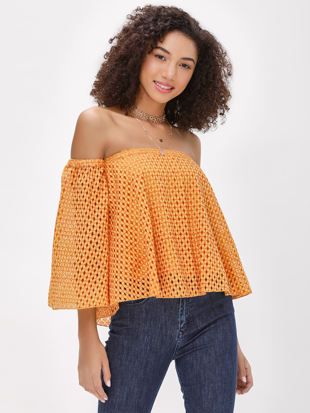 Ri-Dress Mustard Lace Flare Sleeve Bandeau Top 1