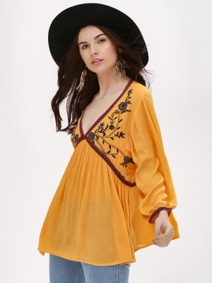 SBUYS Embroidered V-Neck Flare...