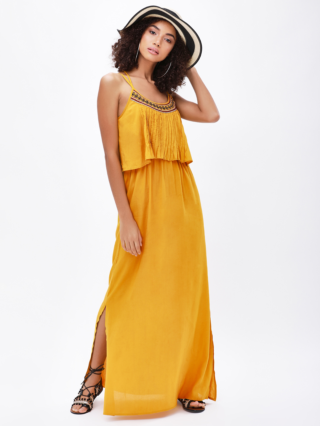 KOOVS Pintuck Embroidered Maxi...
