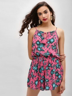 KOOVS Tropical Print Strappy Playsuit