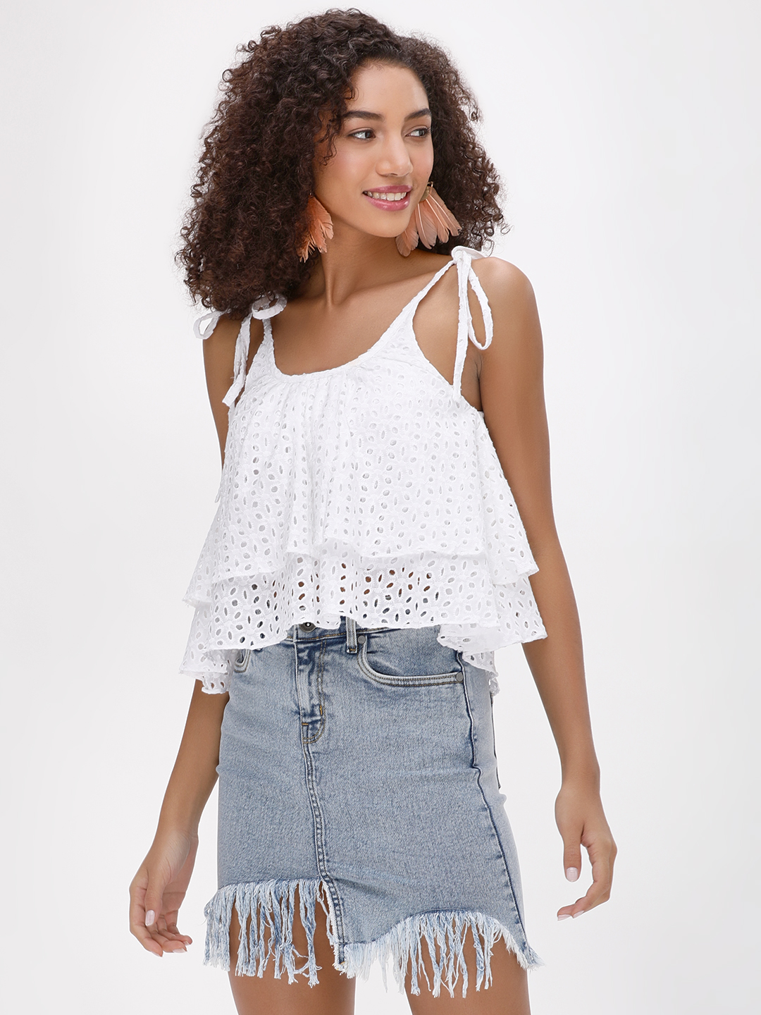 Spring Break White Broderie Layered Strappy Top 1