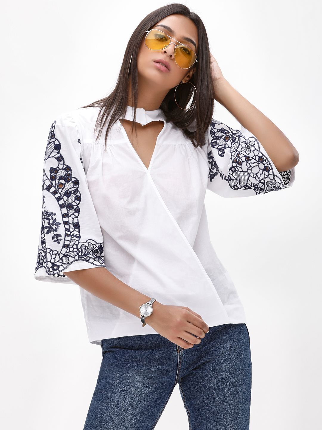 Rena Love White Embroidered Sleeve Choker Neck Top 1