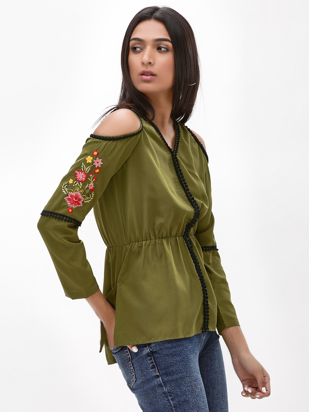 Rena Love Green Embroidered Cold Shoulder Top 1