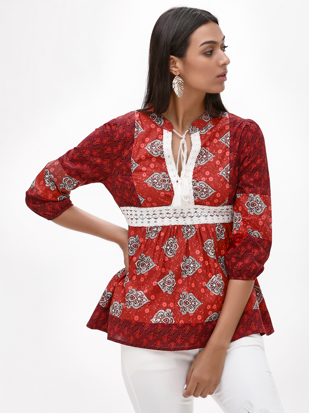 Rena Love Red Printed Top With Lace Detail 1
