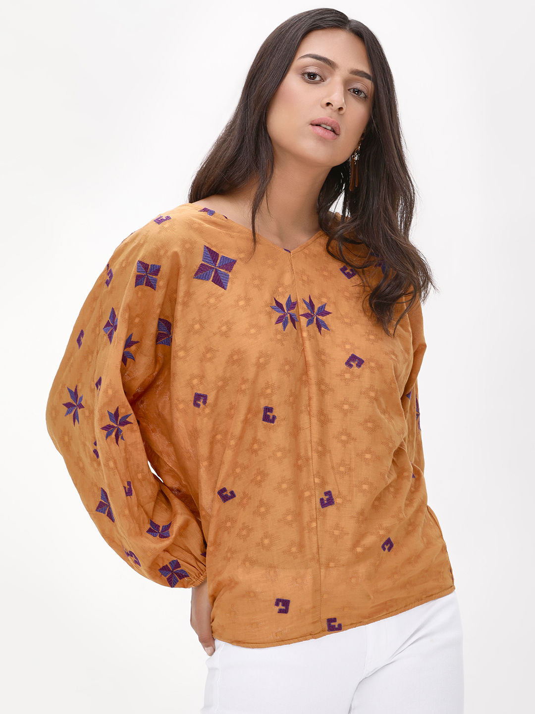 Rena Love Mustard Kimono Top With Embroidery 1