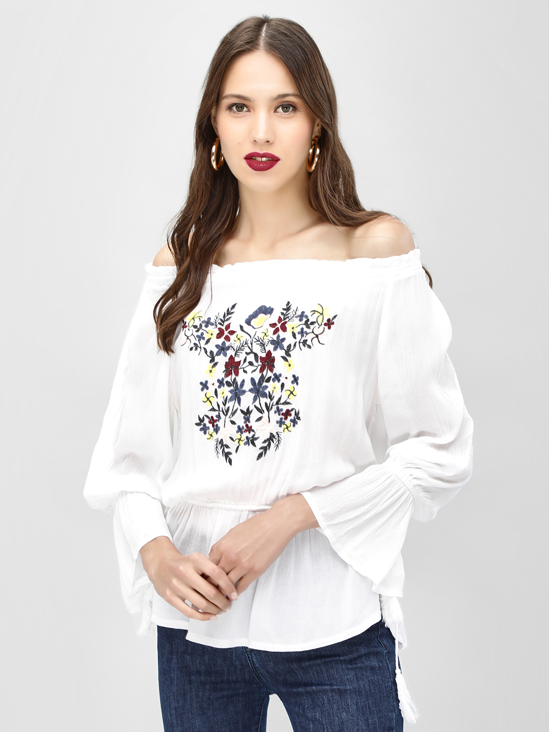 KOOVS White Floral Embroidered Off-Shoulder Top 1