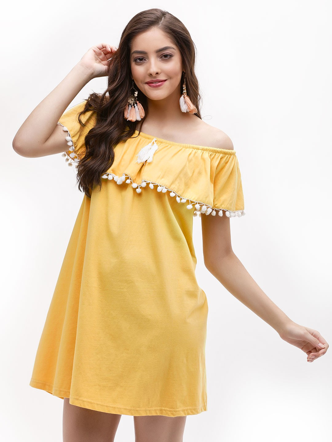 KOOVS Yellow Pom Pom Bardot Dress 1