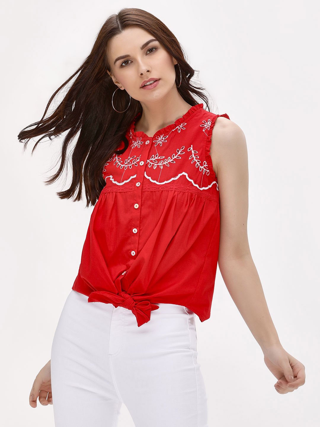 Kisscoast Red Ruffled Neck Embroidered Top 1