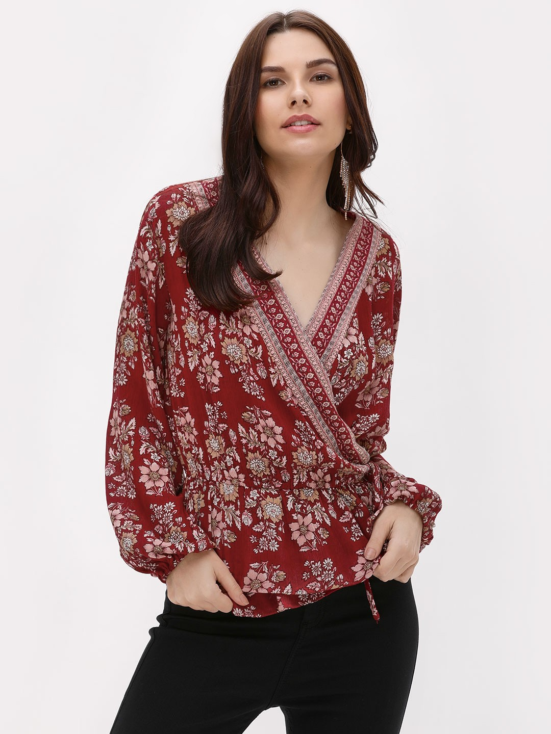 Kisscoast Red Floral Print Wrap Top 1