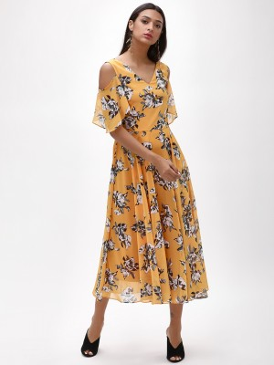 OLIV Floral Cold Shoulder Midi...