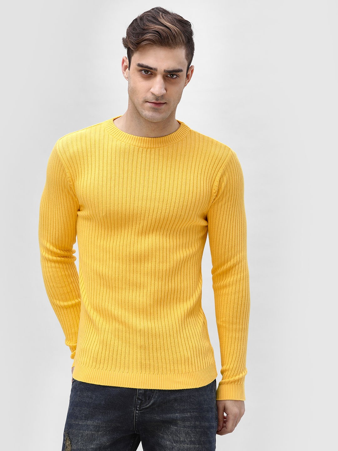 KOOVS Yellow Muscle Fit Ribbed Sweater 1