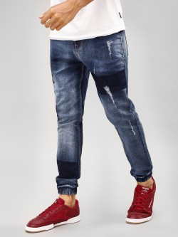K Denim KOOVS  Light Wash Distressed Panelled Denim Joggers