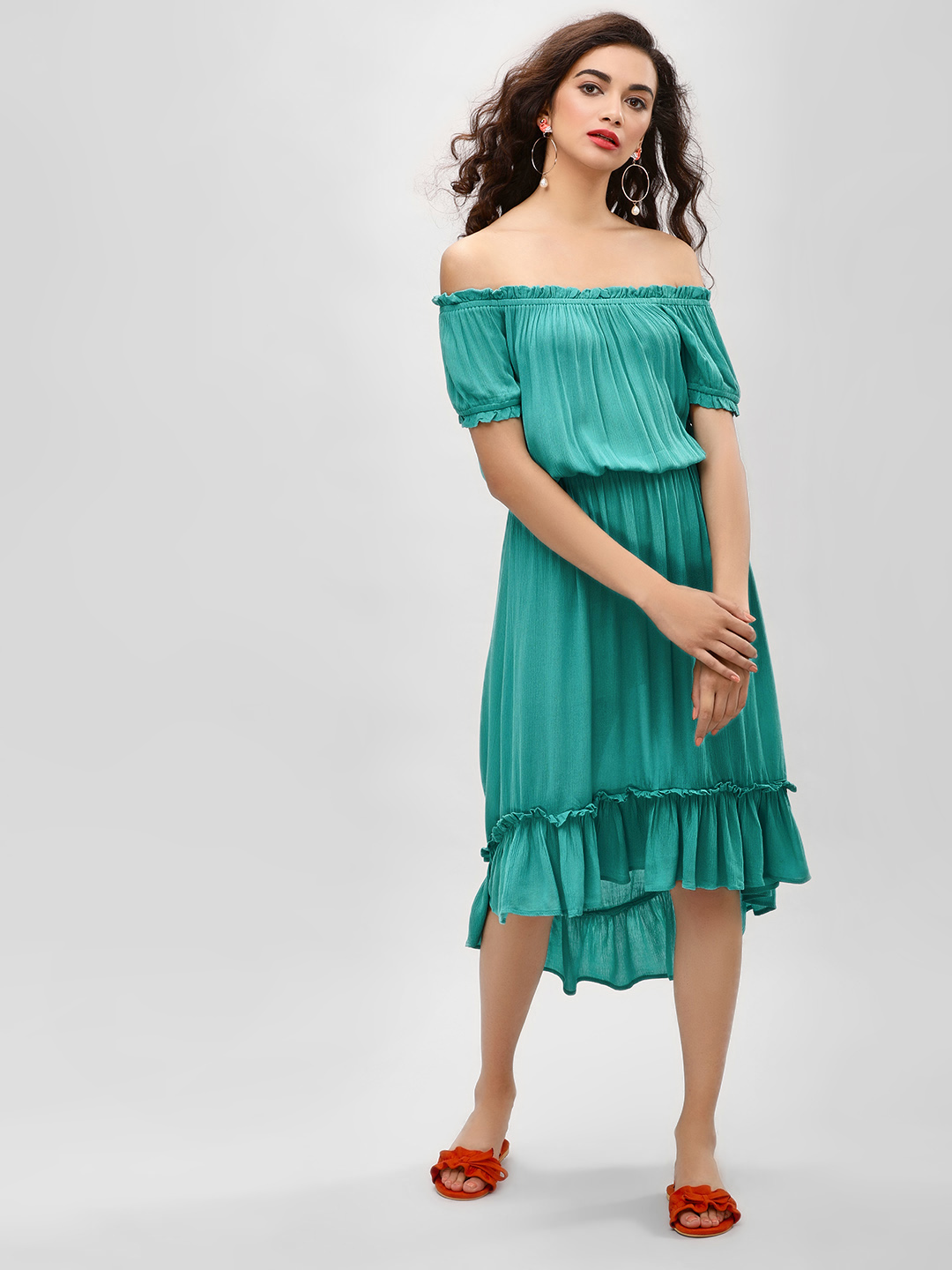 KOOVS Green Asymmetric Hem Bardot Dress 1