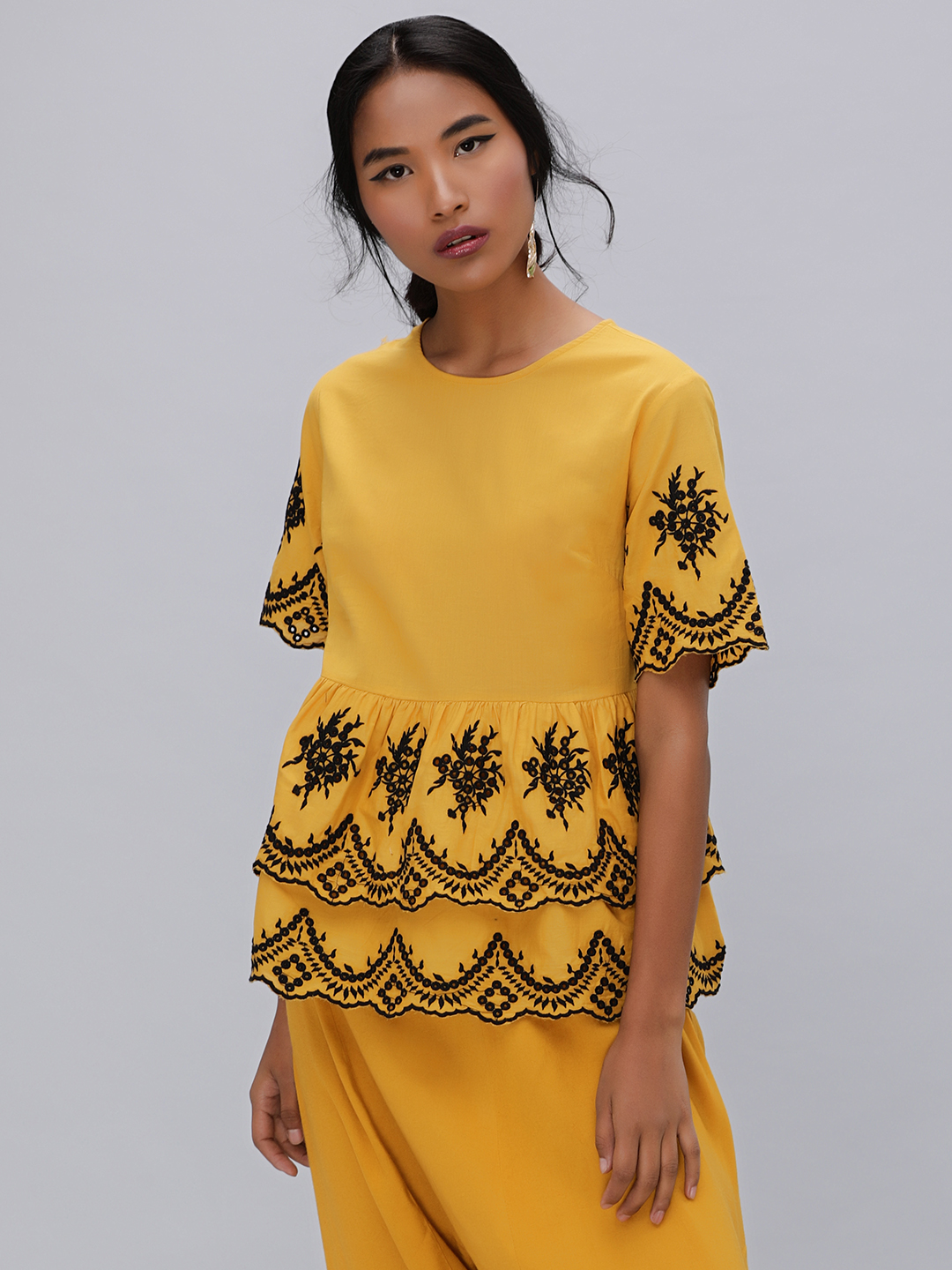 KOOVS Yellow Embroidered Layered Peplum Top 1