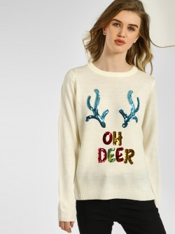 Brave Soul Slogan Sequined Christmas Jumper