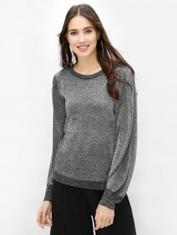 Brave Soul Balloon Sleeve Metallic Pullover