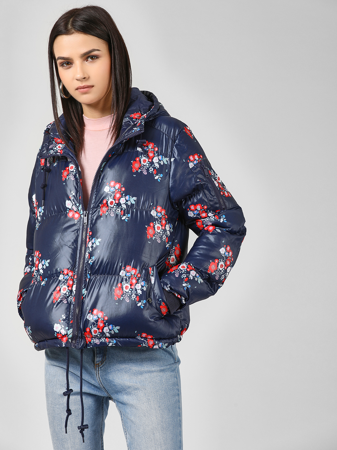Brave Soul Navy Floral Print Hooded Jacket 1