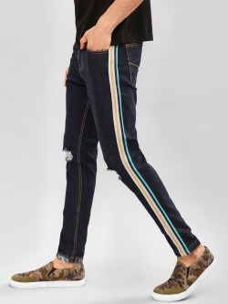 K Denim KOOVS Side Tape Distressed Slim Jeans