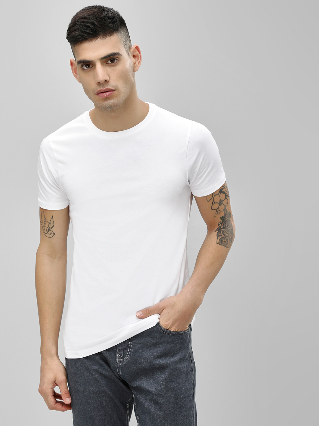 KOOVS White Basic Muscle Fit T-Shirt 1