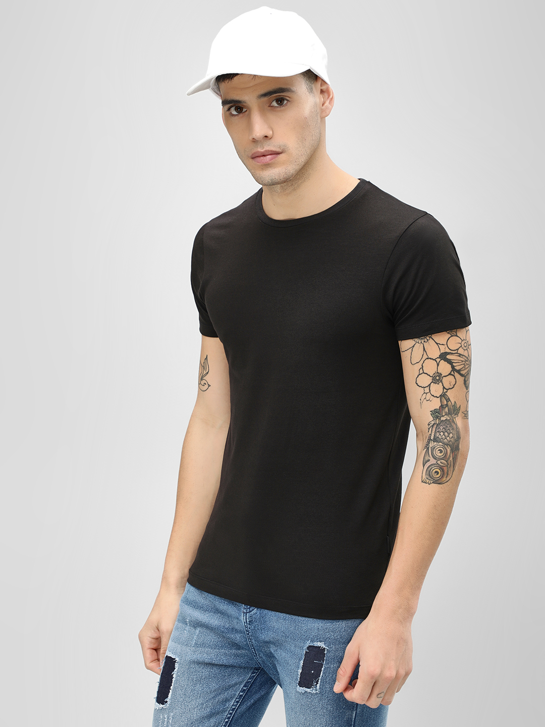 KOOVS Black Basic Muscle Fit T-Shirt 1
