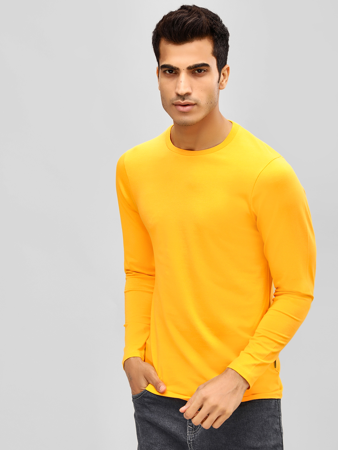 KOOVS Yellow Muscle Fit Long Sleeve T-Shirt 1